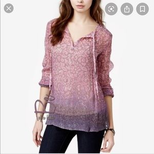 [Lucky Brand] Floral Print Sheer Top